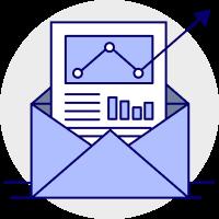 Market emails - market analysis icon
