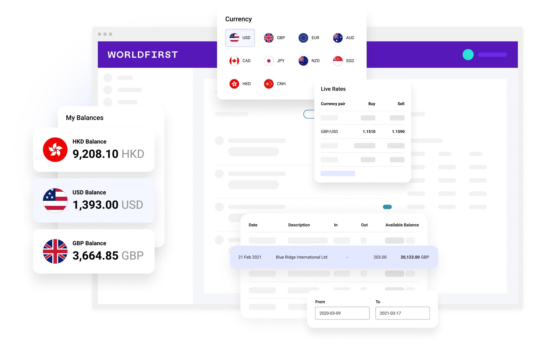 WorldFirst homepage product hero image